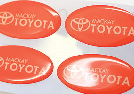 Mackay Toyota Oval Dome Stickers on Sheet