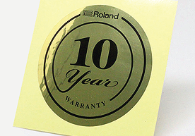 Roland 10 Year Warranty Circle Gold Vinyl Stickers