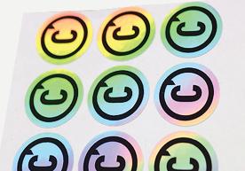 C Circle Hologram Die Cut Stickers on Sheet