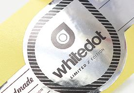 Handmade Whitedot Limited Edition Kiss Cut Silver Vinyl Stickers